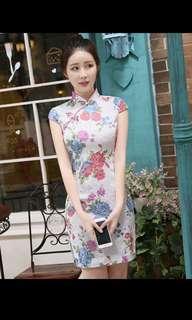 BN CNY Cheongsam Qipao Dress - White with Bright Colours