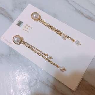 (現貨出清)韓 氣質款 典雅 珍珠 流蘇 鋯石 耳環 現貨