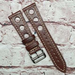 CNY SALE : Premium Alran Chevre Sully Goat Leather 22mm GT Rally Racing Watch Strap Brown (1033B22)