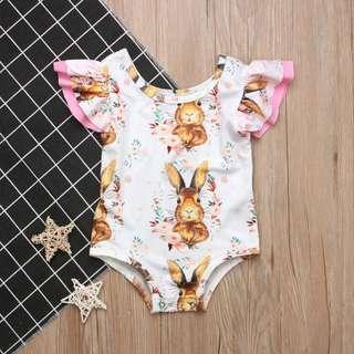🚚 ✔️STOCK - PINK RUFFLE BROWN RABBIT BUNNY WHITE OVERALL ONESIE NEWBORN BABY TODDLER GIRLS ROMPER KIDS CHILDREN CLOTHING