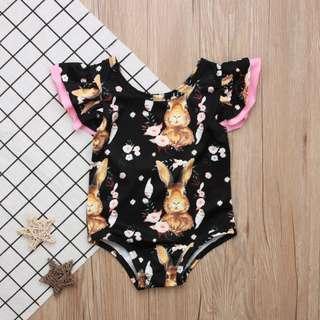 🚚 ✔️STOCK - BROWN RABBIT BUNNY BLACK OVERALL ONESIE PINK RUFFLES NEWBORN BABY TODDLER GIRLS ROMPER KIDS CHILDREN CLOTHING