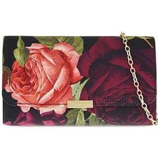 NEW Ted Baker Women's Wynnie Juxtapose Rose Evening Shoulder Bag Handbag (Black Red) [FINAL CLEARANCE]