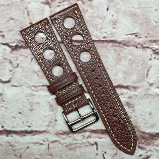 CNY SALE : Premium Alran Chevre Sully Goat Leather 24mm GT Rally Racing Watch Strap Brown (1033B24)