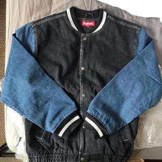 Size M - Supreme SS18 Denim Varsity Jacket