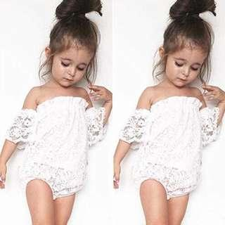 🚚 ✔️STOCK - PRETTY DROOPY LACE SLEEVES WHITE OVERALL ONESIE NEWBORN BABY TODDLER GIRLS PHOTOSHOOT OUTFIT ROMPER KIDS CHILDREN CLOTHING