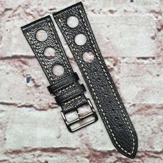 CNY SALE : Premium Alran Chevre Sully Goat Leather 24mm GT Rally Racing Watch Strap Black (1035BK24)