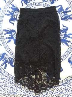 Mid high wasted black lace skirt
