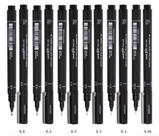Uni Pin Drawing Pens/ Fineliner Pens Set (0.05,0.1,0.2,0.3,0.5,0.8)