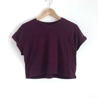 H&M Maroon Basic Jersey Crop Top