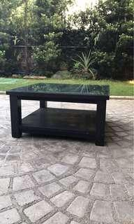 Big black heavy square coffee table with glass