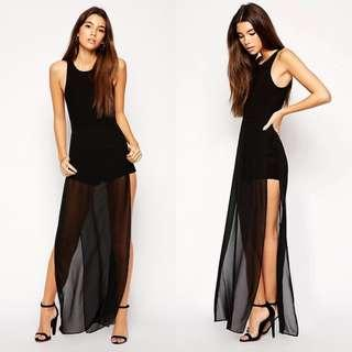ASOS PETITE Exclusive Maxi Dress with Short Underlay