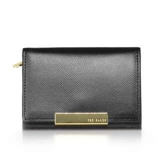 NEW Ted Baker Women's Marged Metallic Bar Small Leather Purse Wallet - Black and Plum [FINAL CLEARANCE]