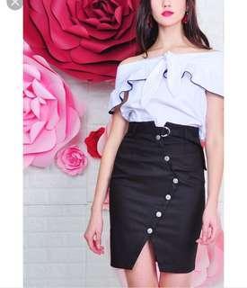 Purpur Emmalee Pencil Skirt Black