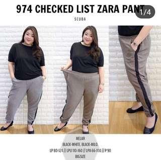 NEW CHECKED LIST ZARA PANTS - BLACK WHITE