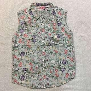 LARGE 100% COTTON FLORAL SLEEVELESS