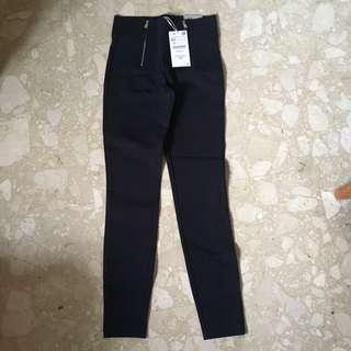 Zara TRF Zipper Pants Navy Black