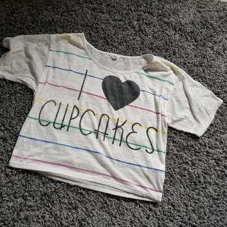 FOREVER 21 i love cupcakes Crop Top