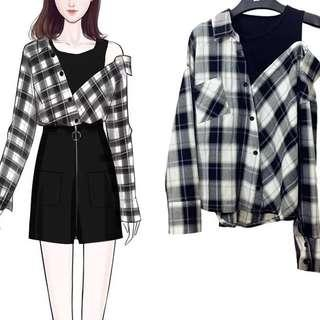 ulzzang checkered off shoulder one piece flannel