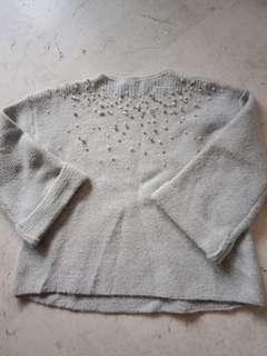 🚚 灰色厚針織寬袖上衣