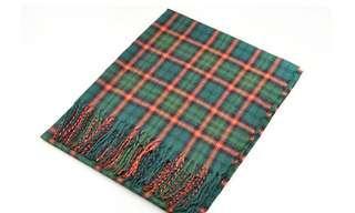 全新 英倫風綠色格仿羊絨圍巾🧣scarf流蘇頸巾 100%new