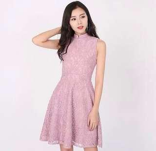 🌷(IN STOCK) Pearl of the Orient Lace Dress Pink (With Removable Collar)