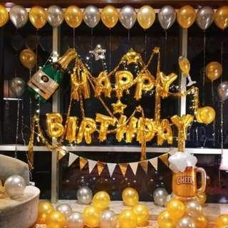 🚚 (In Stock)Gold Theme Birthday Party Decoration Set