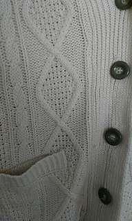 🚚 白色翻領毛線外套(日本帶回)