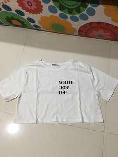 zara white crop tee