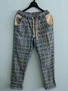 🚚 Light blue and cream printed pants