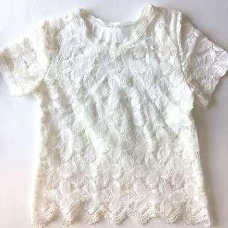 White Lace Loose Blouse