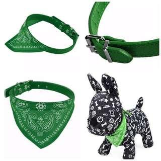 Adjustable Collar Scarf Bandana Neckerchief Pet Dog Cat Green