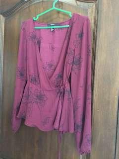 F21 maroon floral kimono wrap sleeved blouse