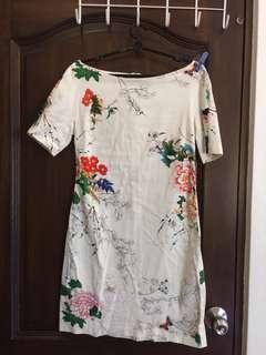 CNY Peony floral shift dress