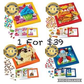 *Brand New* Brick Mates Stack by Numbers Rocket Ship / Dog / Cupcakes / Burger 3D Learning Activity (Best Gift for Holiday, Birthday and Christmas) Mini Blocks