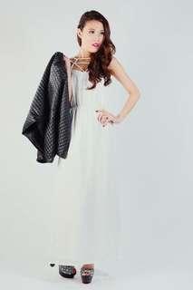 Hera lattice dress in white