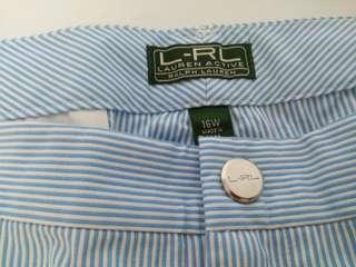 BNWT Ralph Lauren LRL Golf Woman Shorts Nautical Style Baby Blue & White Lines Polo Ralph Size 16