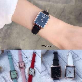 🚚 時髦優雅 方錶 愛心內鏡面 kezzi 玫瑰金框皮革錶 手錶 女錶 紅色手錶 過年禮物