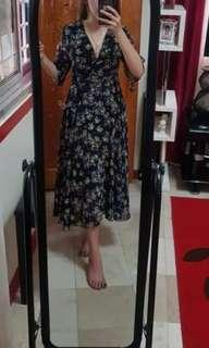 High quality wrap midi dress