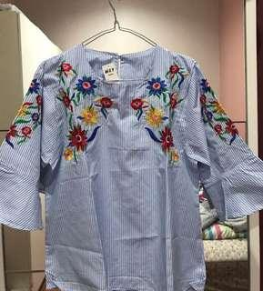 Baby Blue Stripe Embroidery / Embroidered / Bordir Blouse