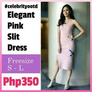 Restock!! Sale!! Elegant Pink Slit Dress (FS: Stretch, fits S - L; fits 24 - 29 waistline)