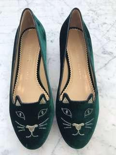 Authentic Brand New Charlotte Olympia Kitty Velvet Flats