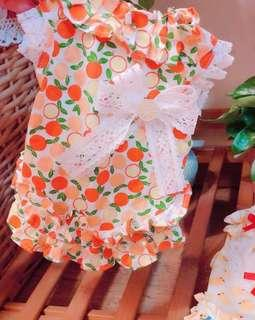 CNY New Launch! Super Cute CNY Mandarin Orange Pets Pleated Dress! For Cats Dogs Puppies Kittens