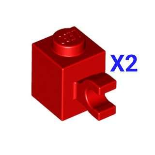 Lego Brick 1x1 with Horizontal Clip Red 2pc