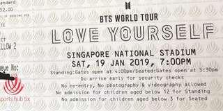 LOVE YOURSELF WORLD TOUR IN SINGAPORE CAT 1