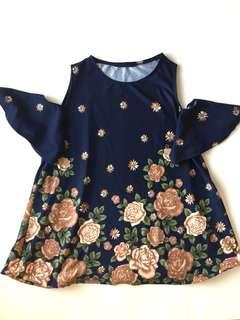 Navy Blue Floral Flowy Top