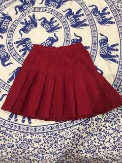 Maroon / res pleated skirt