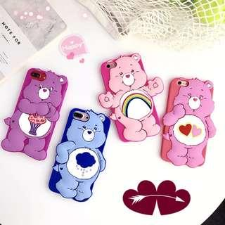 NEW! Instocks! 5 Designs! 3D Silicon Silicone Carebears Care Bear Mobile Hand Cell Phone Case Casing Cover - Apple IPhone 6 6S Plus IPhone 7 7+ IPhone8 8+ X Xr Xs Max (Cheer Share Rainbow Hearts Funshine Grumpy love-a-lot cheer grumpy rubber red pink)