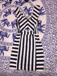 Black j white striped cut out dress