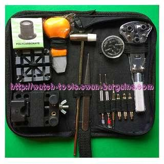 Portable 14pcs Watch Repair Battery Leather Strap Change Bracelets Resizing Tool Kit In Handy Handy Carrying Zip Pouch