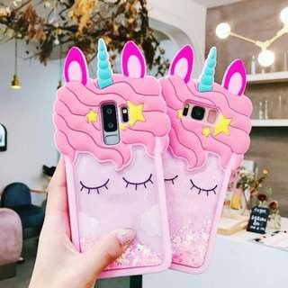 Brand New Instocks Ready Stocks Floating Liquid Glitter 3D Unicorn Eyelash Stars Silicon Silicone Mobile Hand Phone HP Case Casing Cover Sleeve - Samsung Galaxy  S7 Edge, S8, S8 Plus, S9, S9 Plus & Note 9 Note 8